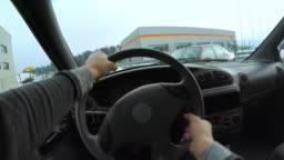 POV Driver hitting another car in the crossroad