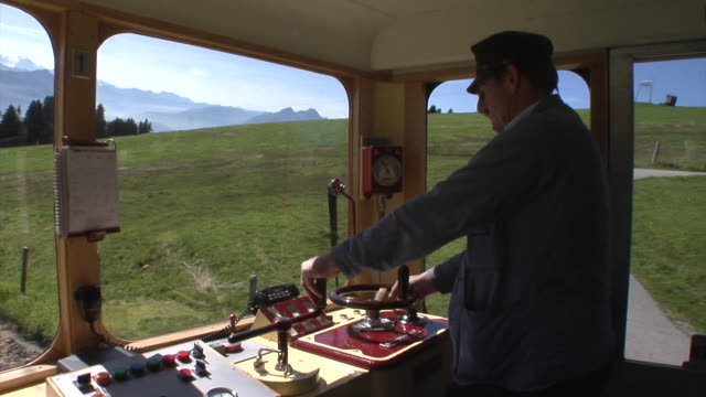 driver of a vitznau rigi train - lake lucerne stock videos & royalty-free footage