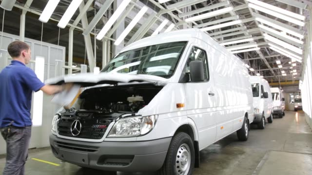 a driver performs tests on a mercedesbenz ag sprinter van following assembly at the gaz auto plant operated by gaz group in nizhny novgorod russia on... - mercedes benz stock videos & royalty-free footage