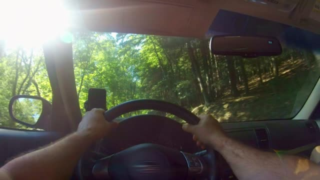 driver point of view: a man driving a car on the road in poconos, pennsylvania - steering wheel stock videos & royalty-free footage