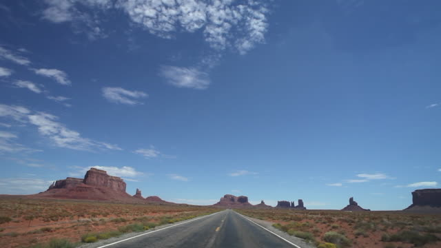 Driver pov of driving in Monument Valley national park in USA
