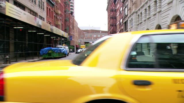 pov driver side view from car driving through a business area in tribeca / new york city, new york, united states - tribeca stock videos & royalty-free footage