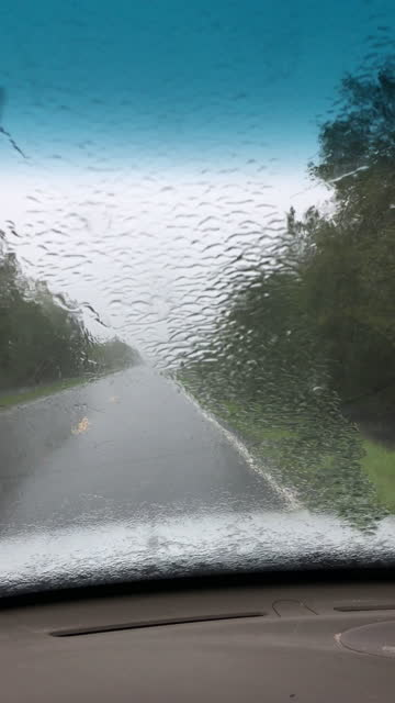 driver view along rural forest road with wipers not able to clear blinding rain - florida us state stock videos & royalty-free footage