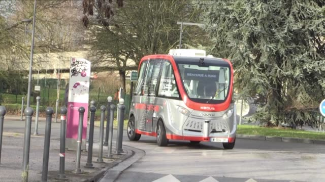a driverless electric and street based shuttle has been launched on the campus of the university of lille - lille stock videos & royalty-free footage