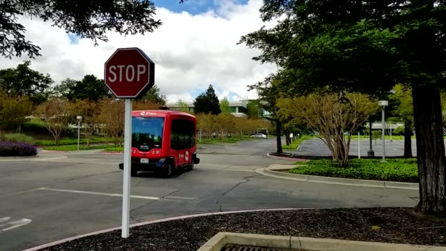 Driverless shuttle from self driving vehicle company Easy Mile driving through the Bishop Ranch office park in San Ramon California the first fully...