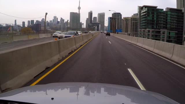 Drivers point of view driving along a motorway in Toronto Canada