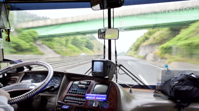 Driver's seat of a bus running