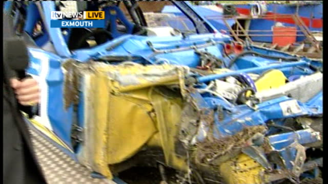 Drivers walk away from spectacular rally car crash ENGLAND Devon Exmouth EXT Wreckage of crashed rally car Reporter to camera Darren Pool interview...