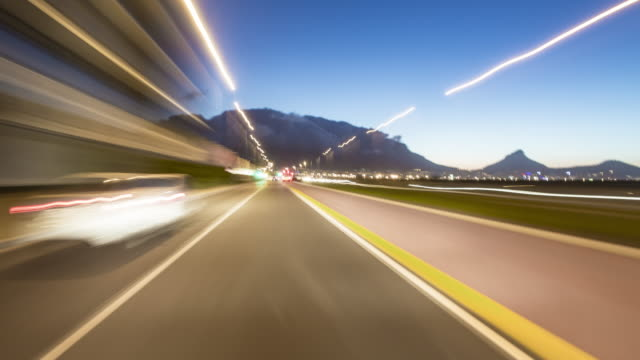 driving a car around Cape Town - drivers POV - on board time lapse - shot-4 part-2: day to night transition