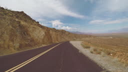 POV Driving a car in Death Valley highways