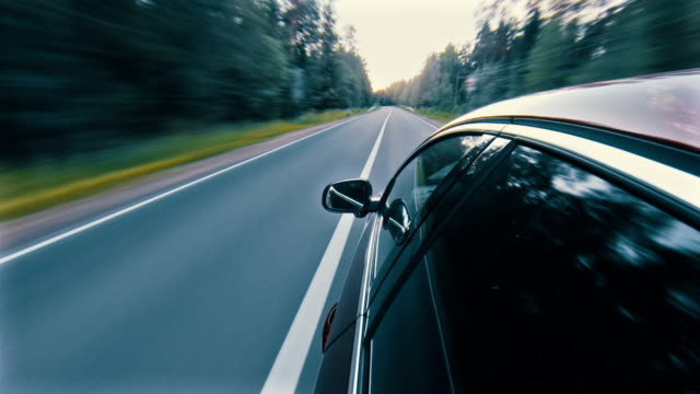 Driving a car in the forest time lapse