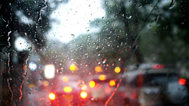 driving a car on a rainy day - traffic jam stock videos & royalty-free footage