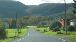 Driving a car on beautiful scenic Norway road in autumn with norwegian cows