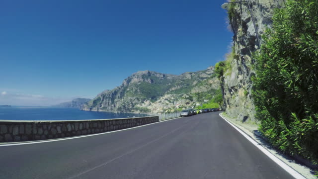 Driving a car on the Amalfi Coast roads POV