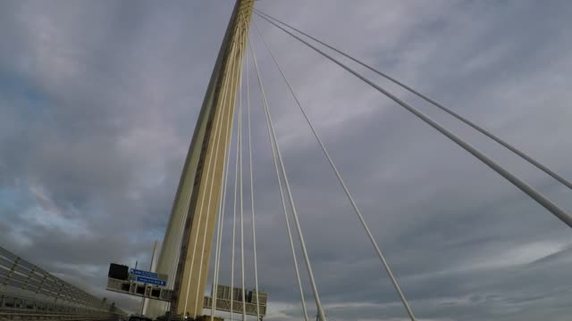 Driving across Queensferry Crossing bridge, Scotland