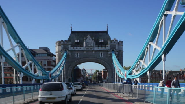 ws pov driving across tower bridge,morning - tower bridge stock videos & royalty-free footage
