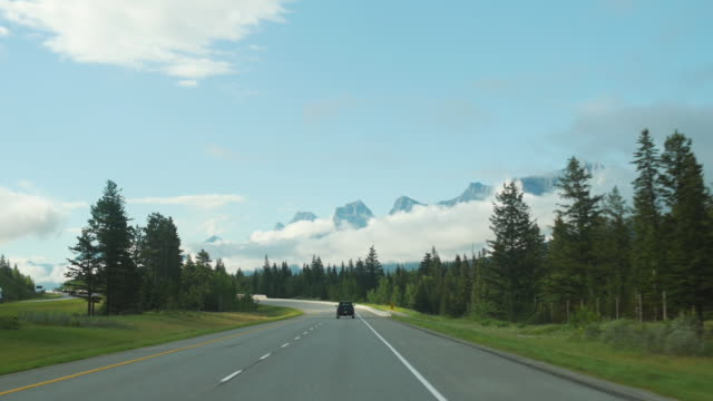 Driving along Icefields Parkway in Canada
