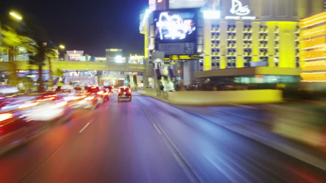 Driving along Las Vegas Blvd at Night POV in Time Lapse