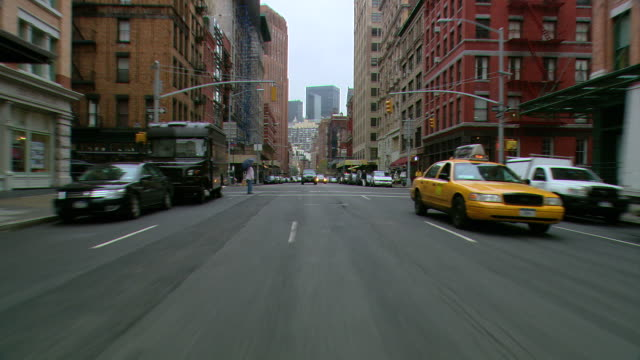ts / rear view 90' driving along west broadway / tribeca / new york city / new york - tribeca stock videos & royalty-free footage