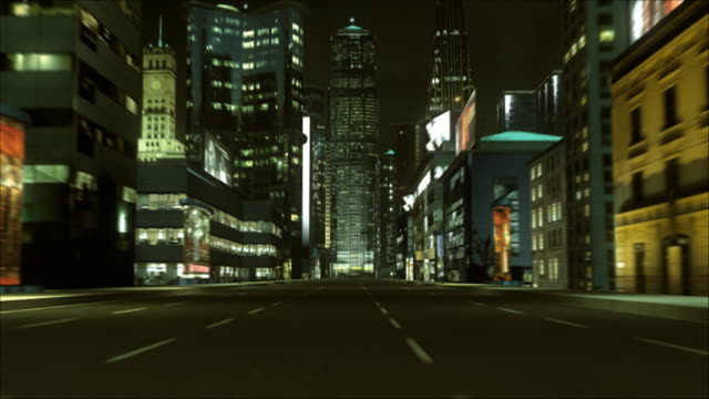 CGI, POV, Driving and flying through city at night