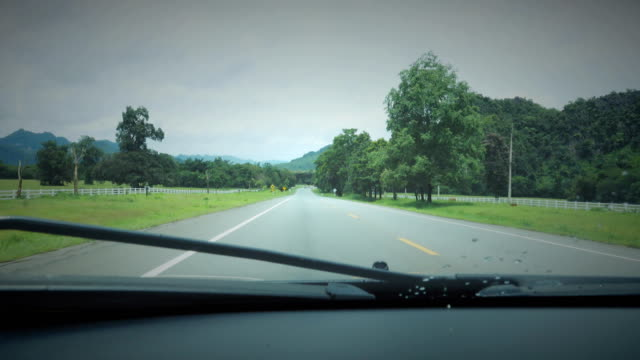 Driving at mountain road.