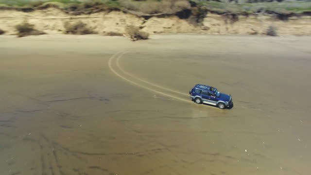 driving at muriwai beach. - tire track stock videos & royalty-free footage