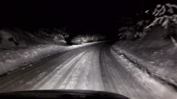 Driving at night during a heavy snowfall, uhd stock video