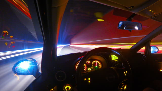 Driving at night on a highway personal perspective time lapse