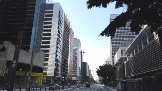 driving at paulista avenue - avenida paulista stock videos & royalty-free footage