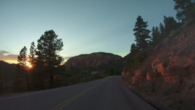 POV driving at sunset in Zion National Park