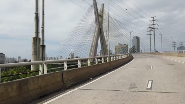 driving at the famous cable-stayed bridge in sao paulo city. - cable stayed bridge stock videos & royalty-free footage