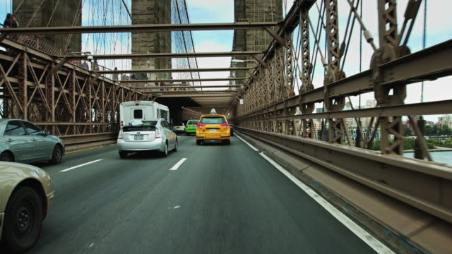 Driving Beneath Brooklyn Bridge Towers