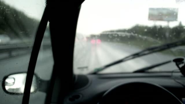 Driving car in the rain