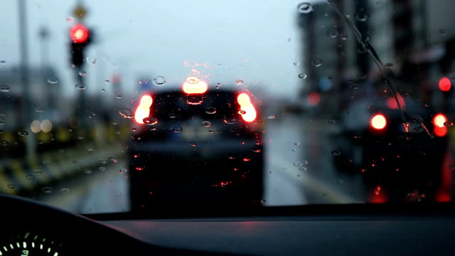 slow mot - driving car in the rain - slippery stock videos & royalty-free footage