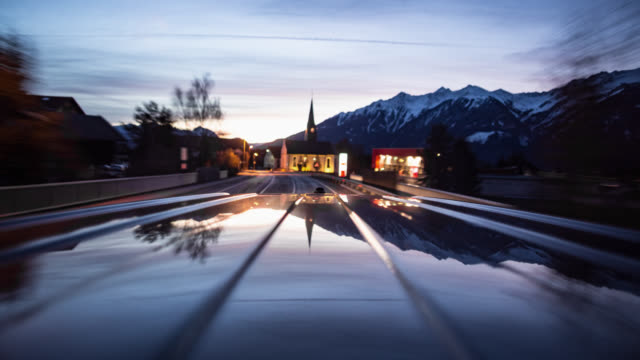 POV - driving car - on board long exposure time lapse - part 2-2: early morning / dawn - roof of the car in frame