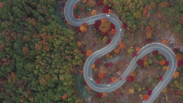 driving course at bobaljae pass (famus uphill path) in autumn / danyang-gun, chungcheongbuk-do, south korea - winding road stock videos & royalty-free footage