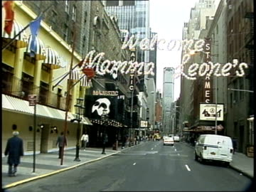 driving down 44th street in nyc, broadway marquees - theatre banner commercial sign stock videos & royalty-free footage