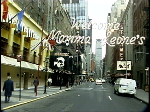 driving down 44th street in nyc broadway marquees - broadway manhattan stock videos and b-roll footage