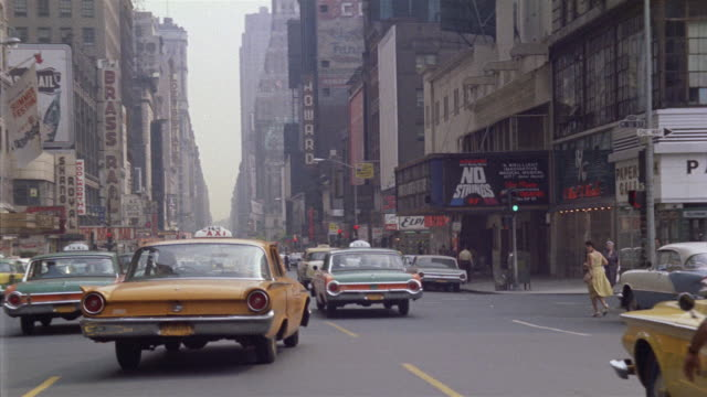 vídeos y material grabado en eventos de stock de ws pov driving down 7th ave and broadway through times square / new york city, new york, usa - 1962