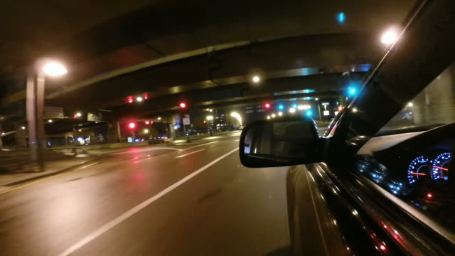 Driving down a city street in Boston Massachusetts