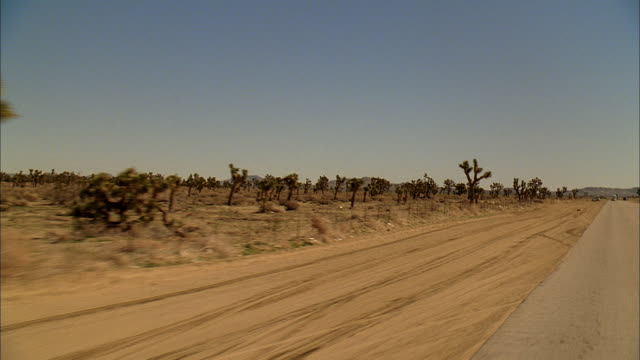 rear pov driving down a desert highway - moving process plate stock videos and b-roll footage