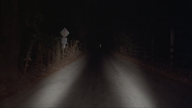 POV driving down a rural road with vehicles headlights illuminating the road.