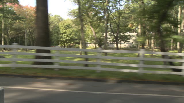 ds driving down a tree-lined street, passing white picket fencing and lush greenery / united states - treelined stock videos & royalty-free footage