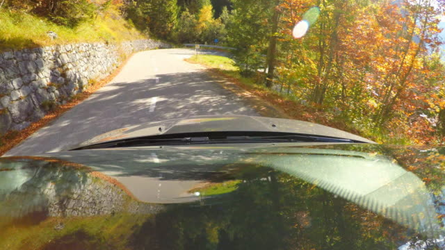 driving down a winding mountain road through autumn forest - windshield stock videos & royalty-free footage