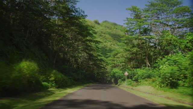 vidéos et rushes de driving down an island road - île d'huahine