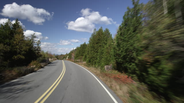 Driving down Caddillac mountain with the camera mounted to a car sped up.