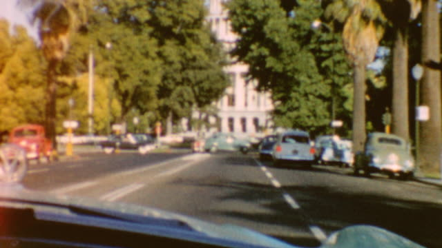driving down capital mall towards capital building / driving down country road / sacramento drive on june 01, 1960 in sacramento, california - sacramento stock videos & royalty-free footage