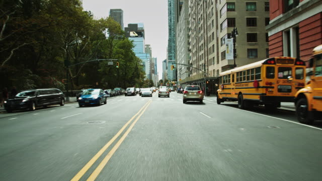 stockvideo's en b-roll-footage met driving down central park west in manhattan, new york city - west point new york