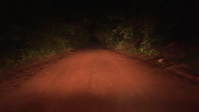 car pov driving down dirt road at night/ georgia - headlight stock videos & royalty-free footage