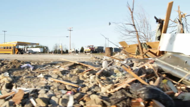 Driving Footage Of Tornado Aftermath And Damaged Houses